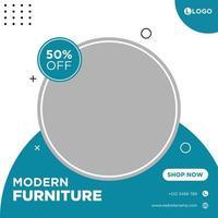 wit en blauw social media-sjabloon met meubels als thema vector