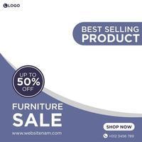 paars en wit social media-sjabloon met meubels als thema vector