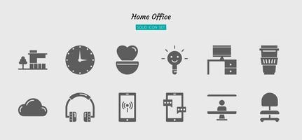 solide pictogram symboolset, thuiskantoor concept