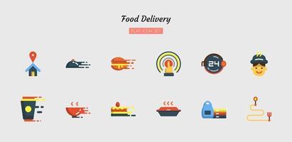 platte voedsel levering pictogram symboolset vector