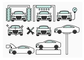 Auto onderhoud pictogrammen vector