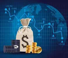 olieprijsmarkt met vaten en munten geldzak