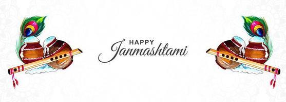 krishna janmashtami festival kaart banner achtergrond vector
