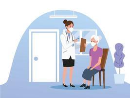 vrouwelijke arts die voor oudere vrouw zorgt vector