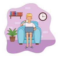 man met laptop in kantoor aan huis