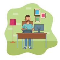 jonge man aan het werk in kantoor aan huis