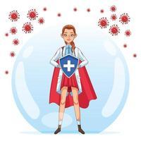 super vrouwelijke arts met schild versus coronavirusdeeltjes