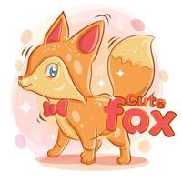 schattige vos draagt een rood lint en glimlacht vector