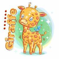 schattige giraf speelt met blauwe vogel vector