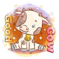 schattige koe zit op de grond met een gelukkige glimlach