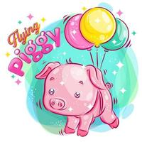 schattig varken vliegen met ballonnen
