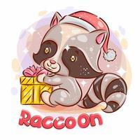 schattige wasbeer met een kerstcadeau.
