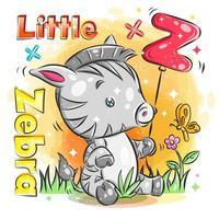 schattige kleine zebra houdt rode ballon met initiële z