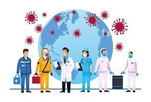 medisch personeel dat zich op aarde bezighoudt met covid 19 vector