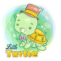 schattige kleine schildpad draagt een hoed en glimlacht