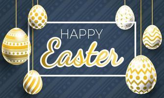 gelukkig Pasen realistisch hangend paasei-ontwerp vector