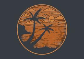 Sunset Beach View cirkel embleem vector