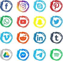 kleurrijke penseelstreek sociale media-emblemen