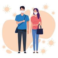 paar met gezichtsmasker voor coronavirus