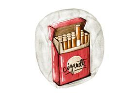 Gratis Sigaretpak Waterverf Vector