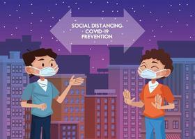 mannen die maskers gebruiken en sociale afstand oefenen