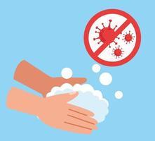 handen wassen met stop covid 19 pictogram