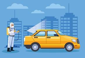 bioveiligheidsmedewerker desinfecteert taxi tegen covid 19 vector