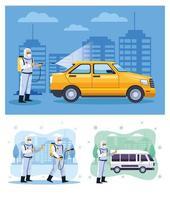 bioveiligheidsmedewerkers desinfecteren taxi's en bestelwagens vector