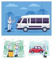 bioveiligheidsmedewerkers desinfecteren een busje en een auto vector
