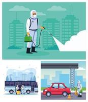 bioveiligheidsmedewerkers desinfecteren bus en auto