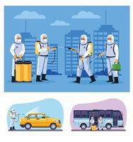bioveiligheidsmedewerkers desinfecteren bus en taxi vector