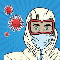 man met bioveiligheidspak covid 19