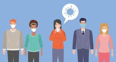 vrouw ziek met covid 19-symptomen en anderen die gezichtsmaskers gebruiken