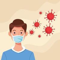 jonge man met gezichtsmasker met covid19-deeltjes