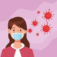 vrouw die gezichtsmasker met covid19-deeltjes gebruikt