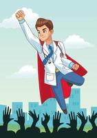 super dokter en juichende mensen