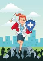 super vrouwelijke arts die met juichende mensen loopt