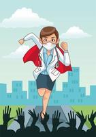 super vrouwelijke arts loopt