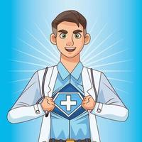 super dokter opent het shirt vs covid19