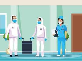 biologisch gevaarlijk schoonmaakpersoneel met verpleegster in het ziekenhuis vector