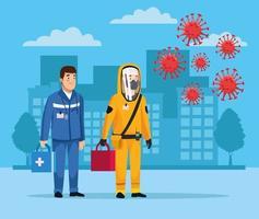 biohazard schoonmaakster met paramedicus en covid19 vector