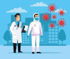 biologisch gevaarlijk schoonmaakpersoneel met covid19-deeltjes