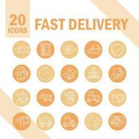 set van pictogrammen voor express en snelle levering vector