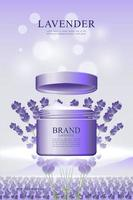 huidverzorgingscrème poster in lavendelomgeving vector
