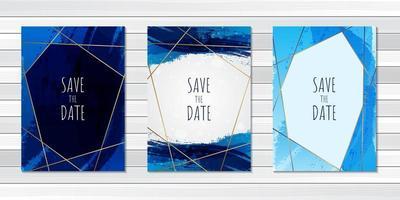 bruiloft uitnodigingskaart met blauwe penseelstreken vector