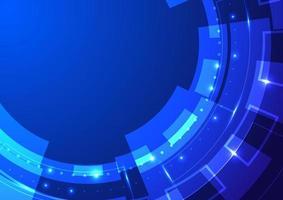 abstracte technologie blauwe wiel neonverlichting vector
