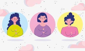 vrouwelijke karakters avatar pictogrammen