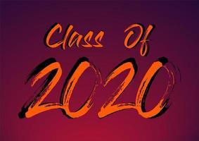 klasse van 2020 penseelstreek typografie poster vector