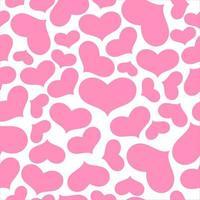 roze harten op naadloze witpatroon vector