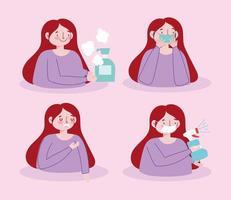 vrouw gezondheidszorg tekenset vector